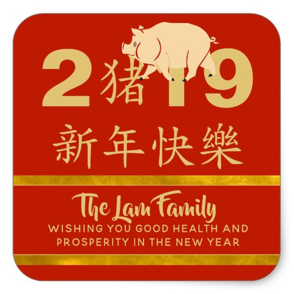 Postage Stamps Christmas 2019 Happy Chinese New Year PIG 2019 Personalized Photo Square Sticker