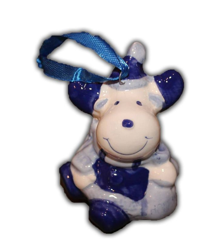 Typisch Hollands Delfts Blauwe Kerst-Hanger - Koe €2.99