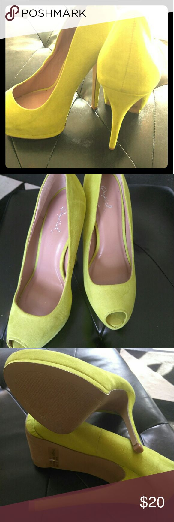 Lime Green Peep Toe Heels 5 inches Lime Green Peep Toe Heels 5 inches new never worn, comfortable, no marks, fabulous shoe! Qupid Shoes Heels