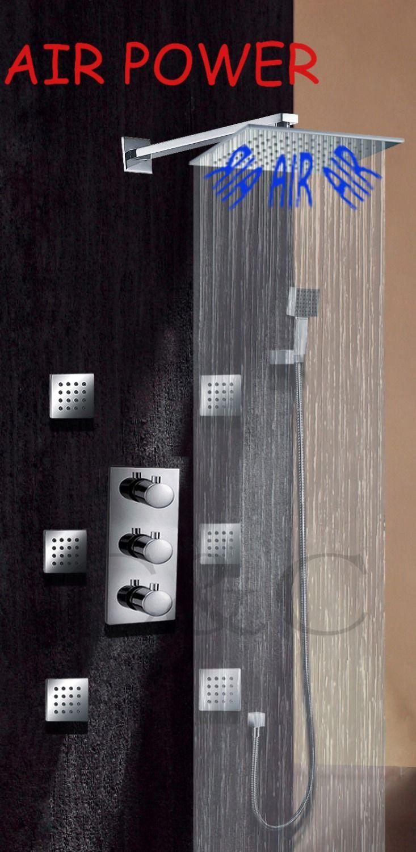Banheiro banho de chuva torneira válvula de chuveiro de massagem hidromassagem chuveiro quadrado 10 polegada de ar alishoppbrasil