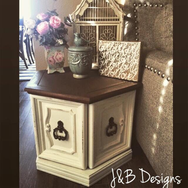 "End table or nightstand. Refinished antique hexagon table in cream chalkpaint with an espresso top. Follow us on Instagram: jandb_designs ""Like"" us on Facebook: J&B Designs"