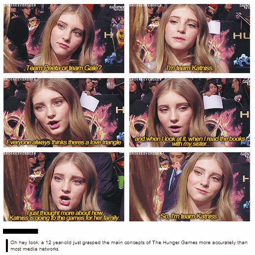 SERIOUSLY smart girl! She gets it! As much as I love Peeta