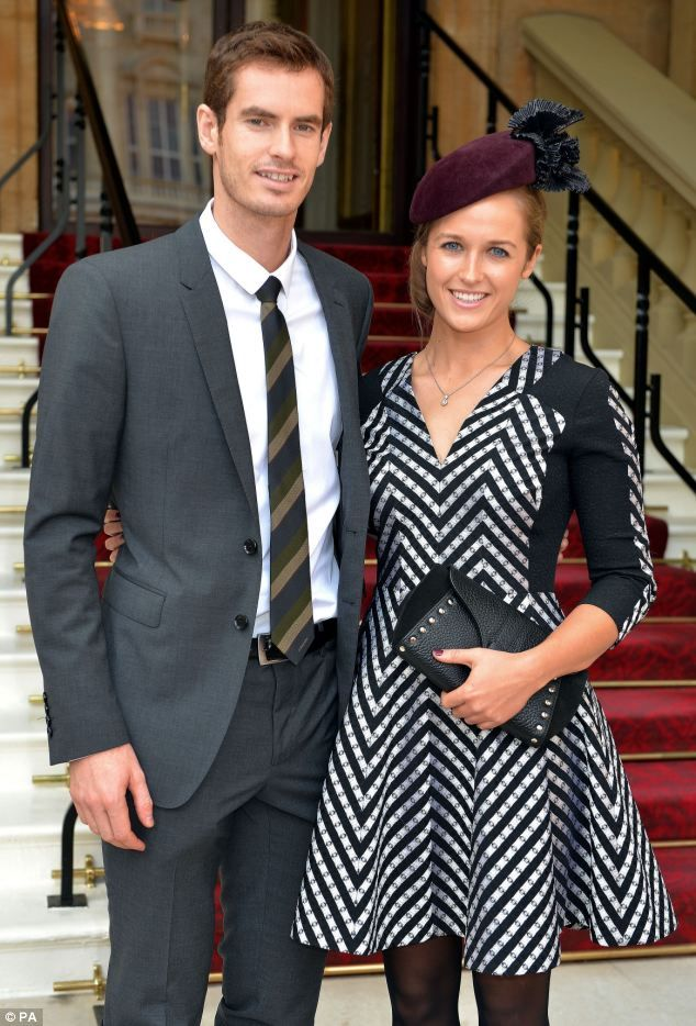 Smiles: Andy Murray and his girlfriend Kim Sears arrive at Buckingham Palace to receive an OBE during Prince William's first investiture cer...