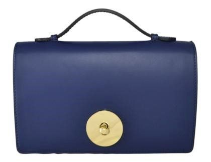 Mini handtas Rugato Ieder donker blauwe kleur uit Italië met ketting schouderriem