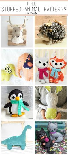 """The CUTEST Stuffed Animal Patterns - free!"" (quote) via u-createcrafts.com"