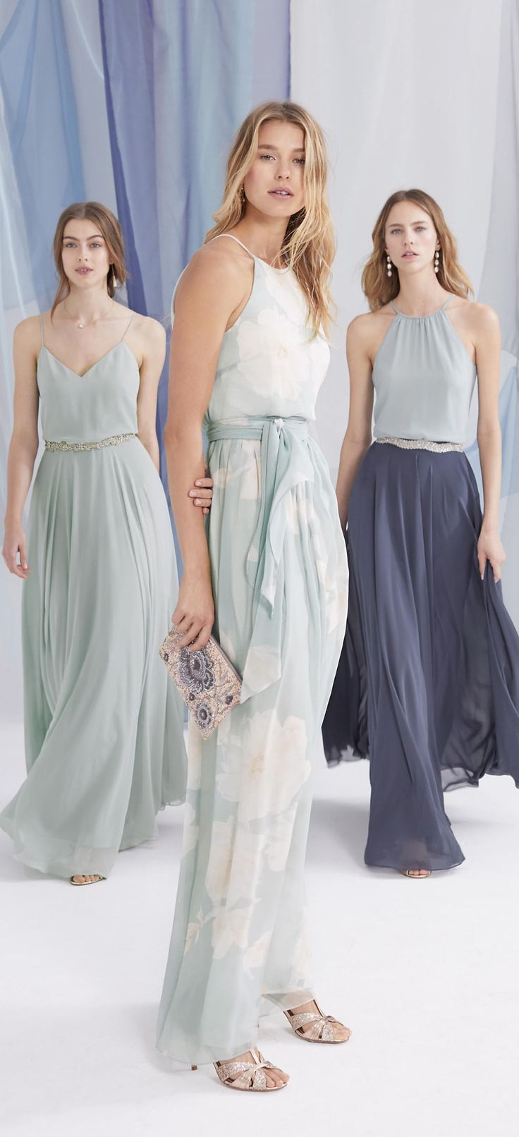 618 best bridesmaids images on pinterest bridesmaids marriage floral bridesmaid dress mix and match bridesmaid skirts in navy blue and dusty aqua ombrellifo Image collections