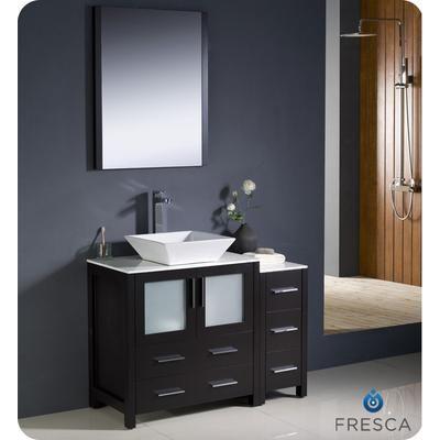 Fresca - Torino Meuble-lavabo de salle de bains moderne 42 po espresso avec armoire latérale et évier vasque - FVN62-3012ES-VSL - Home Depot...