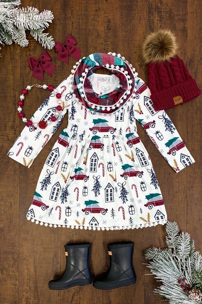cc1e61bc964be Burgundy Vintage Christmas Dress with Scarf | Boom, Baby! | Baby ...