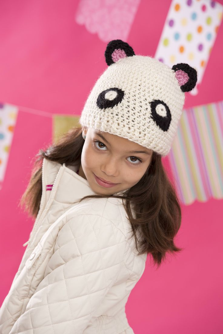 #crochet Panda-monium hat from Vickie Howell's Top 10 Crocheted Kids Hats. Get it @Jo-Ann Fabric and Craft Stores January 2014!