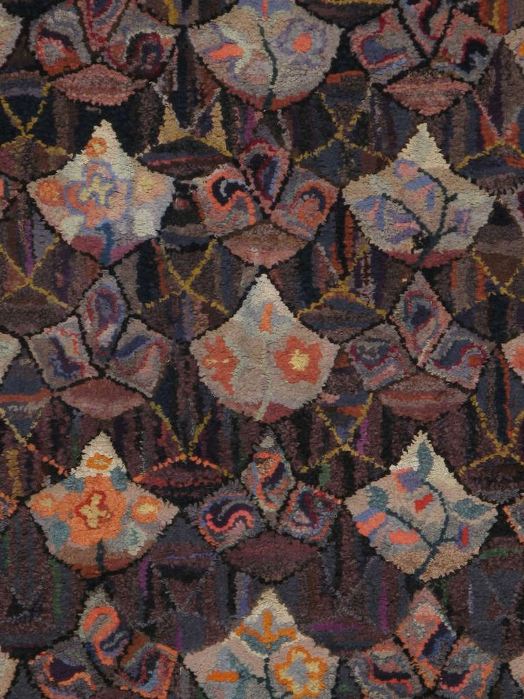 Antique American Hooked Rug, detail
