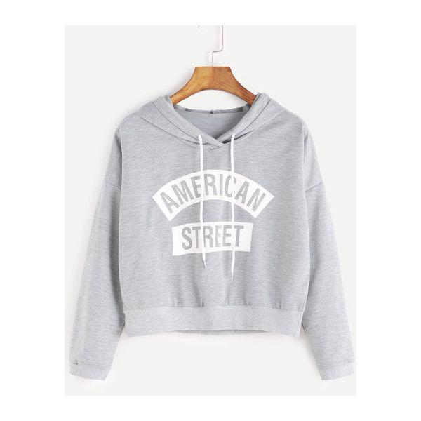 Grey Hooded Letter Print Crop Sweatshirt ($6.89) ❤ liked on Polyvore featuring tops, hoodies, sweatshirts, cropped tops, cut-out crop tops and cropped sweatshirt