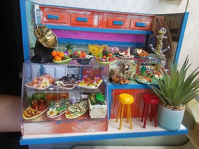 #ハワイアンカフェ #ミニチュア #ドールハウス #カフェ #ランチ #洋食 #レストラン #食品サンプル #ジオラマ #模型 #トロピカル #Hawaii #ハワイ #miniature #restaurant  #fruits #pancakes  #cafe #crafts #パンケーキ #果物 #フェイクスイーツ #ステーキ #料理 #japon #JAPAN #sweets