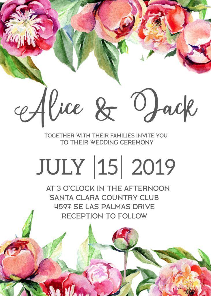 Free Wedding Invitation Template Floral Peonies Paper Trail Design Free Wedding Invitation Templates Free Wedding Invitations Flower Invitation