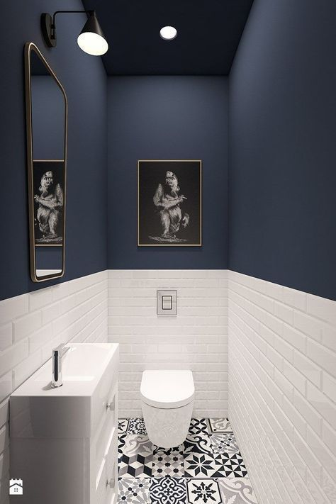 Guest bathroom, patterned floor tiles, black and white, half-height metro tiles