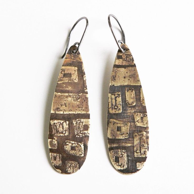 Earrings  Brass and sterling silver