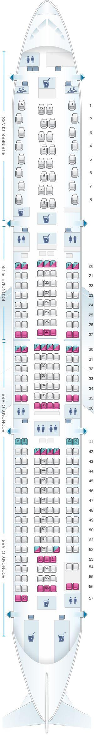 Seat Map Scandinavian Airlines (SAS) Airbus A330 300