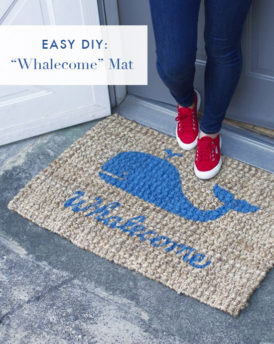 """Perfect for a beachy home (or anyone who giggles over a good pun), this mat offers guests a warm """"whale""""-come when they land on your stoop. Get the tutorial at At Home in Love »  - GoodHousekeeping.com"""