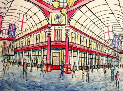 Drawing capturing the colourful Leadenhall Market.  Turn a certain corner in the City of London and you'll step into the beautiful Leadenhall Market, one of the oldest covered markets in London. More recently, it appeared in the Harry Potter films as Diagon Alley!  Art by Kirstin McCoy www.kirstinmccoy.com