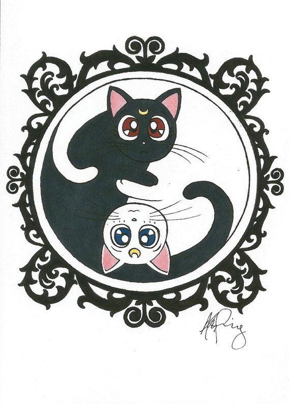 Luna y Artemis Yin Yang por EvenstarCreation en Etsy