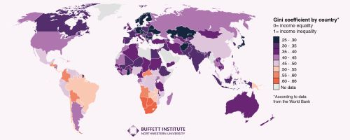 - The Gini Coefficient  by country 2016.