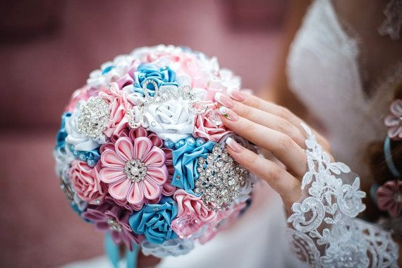 Brooch bouquet 7 inches. Original handmade Wedding Bouquet in pink, white and blue. Flowers made ​​of satin ribbon, decorated with jewelry. Bouquet