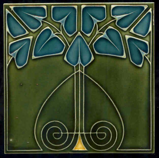 Art Nouveau Ceramic decorative wall tile 6 X 6 Inches #232