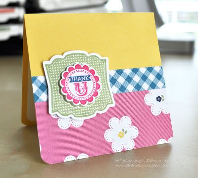 A Round Array and Label Love, Gingham Garden DSP.  3x3 card.  Card Creations by Beth