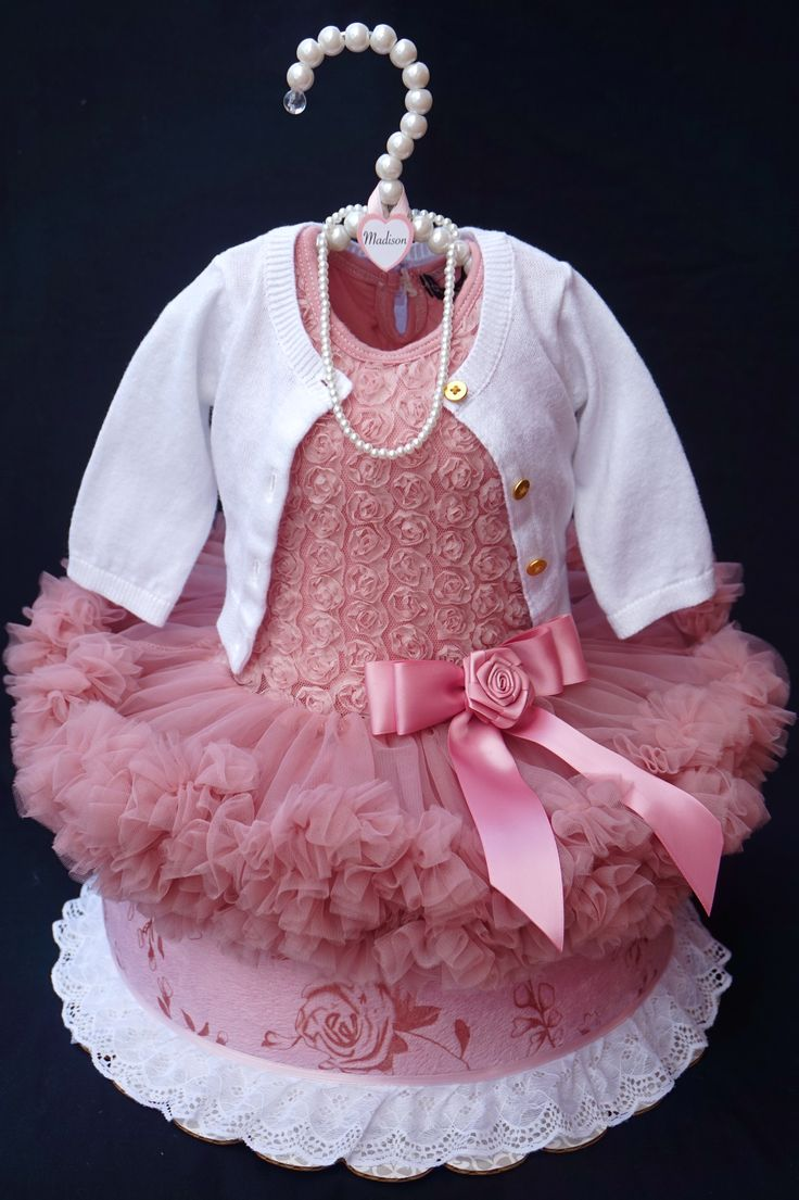 Ruffled Dress Diaper Cake www.facebook.com/DiaperCakesbyDiana