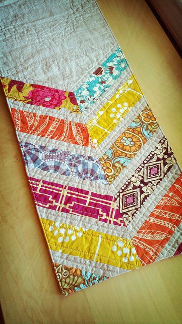 tribal chevrons table runner by QuiltsByEmily. Like the idea of full size quilts with chevrons at just one edge or corner.