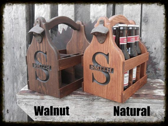 Wooden Beer Tote Personalized Beer Carrier Six by MVwoodworks