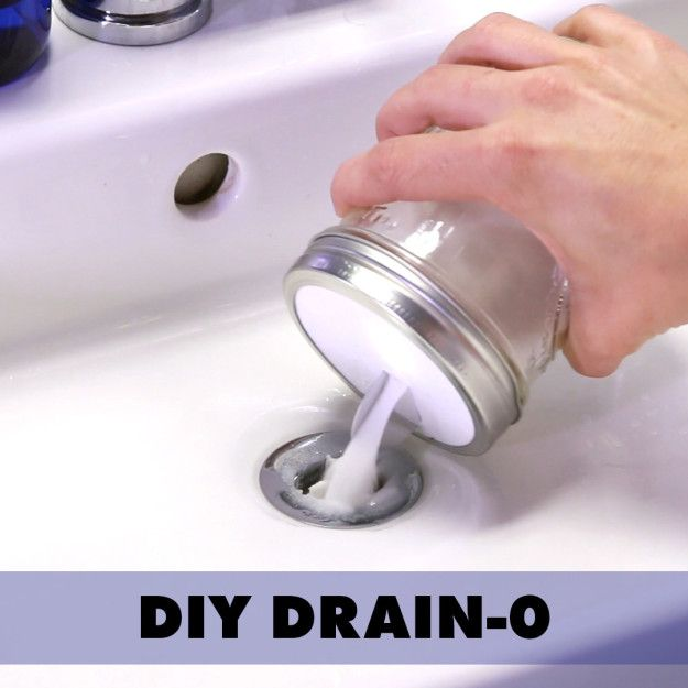 No need for scary chemicals. 1. Remove the drain cap. 2. Mix equal parts baking soda and salt in a bowl. 3. Pour baking soda mixture down the drain. 4. Next, pour warm vinegar down the drain and let sit for a few minutes. 5. Finally, pour boiling water down the drain until it clears. 6. Return the drain cap to its place and you're good to go!
