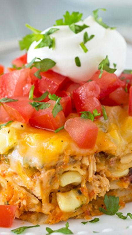 Mexican Lasagna ~ Made with corn tortillas and a creamy salsa chicken filling... It's delicious!!
