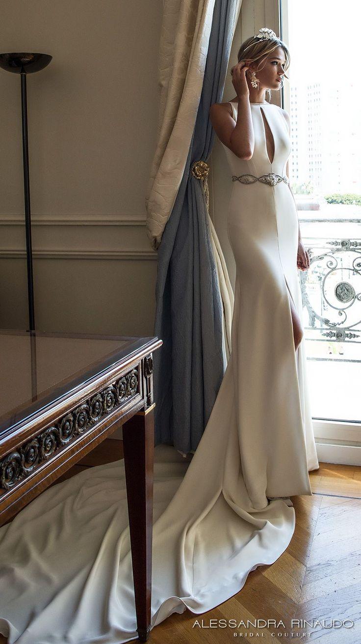 alessandra rinaudo 2017 bridal sleeveless boat neckline keyhole bodice clean simple elegant sheath wedding dress middle slit skirt low v back chapel train (bernadette) sdv mv