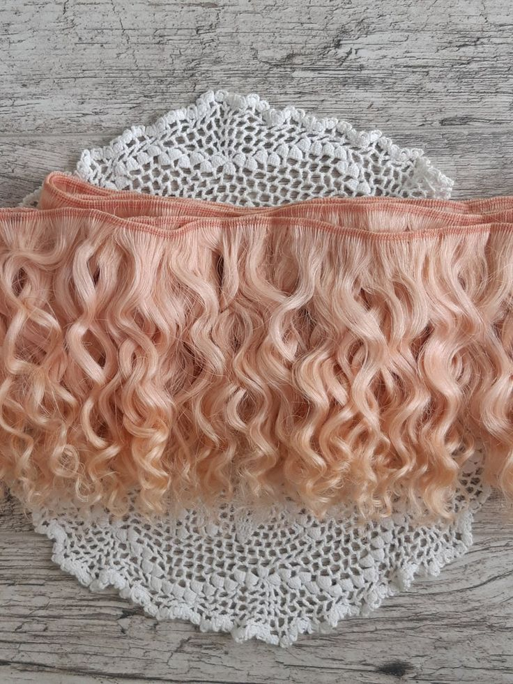 Weft doll hair mohair goat hair 1 m (39.3″) for waldorf doll wig custom Blythe wig natural Wool Doll Hair Color rose