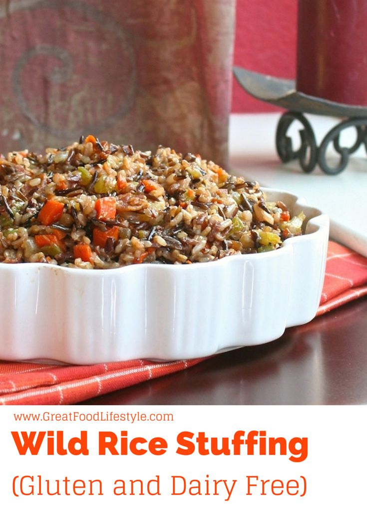 Wild Rice Stuffing is a healthy and delicious alternative to traditional stuffing.  Gluten and dairy free, diabetic friendly.  For more healthy ideas follow me on Pinterest and subscribe to my blog at this link! #glutenfreestuffing