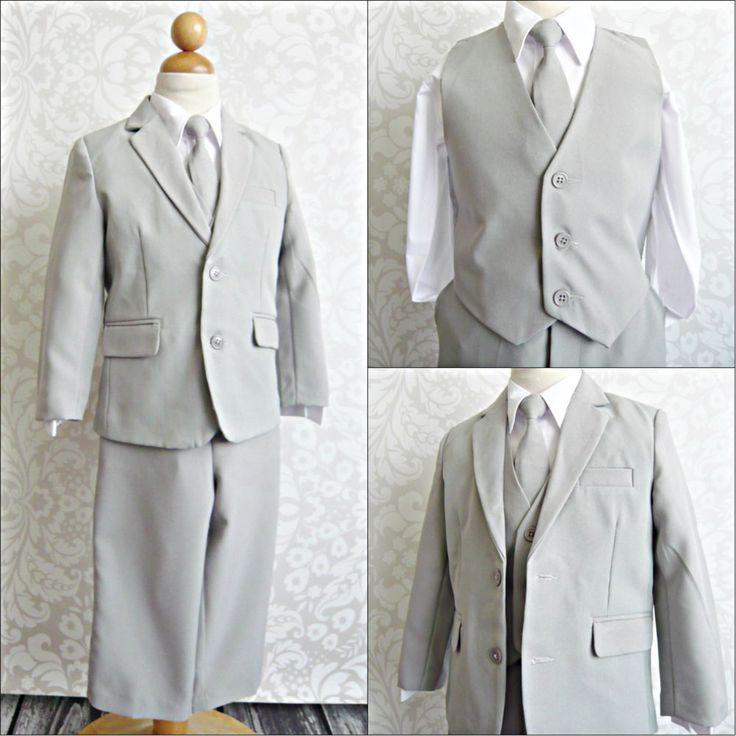 LTF Silver/light grey toddler youth wedding party boy tuxedo formal dress suit  #87sweetgirl #FormalSuitPants #DressyHolidayPageantWedding