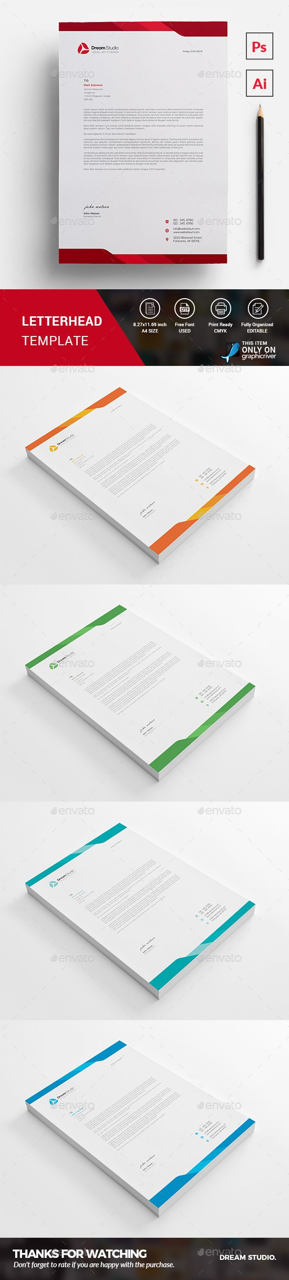 #Letterhead Template - #Stationery Print Templates Download here: https://graphicriver.net/item/letterhead-template/20251986?ref=alena994