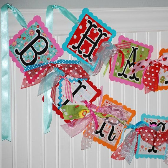 Happy Birthday Banner!  Would be fun to try to make this with all my scrapbook stuff! :)