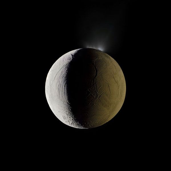 Saturn's moon Enceladus vents water into space. Imaged by the Cassini spacecraft.