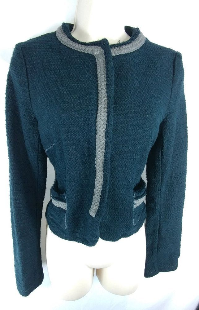 """~Angel of the North for Anthropologie. ~Navy blue with gray piping woven cotton blazer. Snaps up the front. 100% Cotton. ~Ladies Size M – 36"""" around the bust. 33"""" around the waist. From the top of the shoulders, to the very bottom of the hem, the length is 21"""" long. 