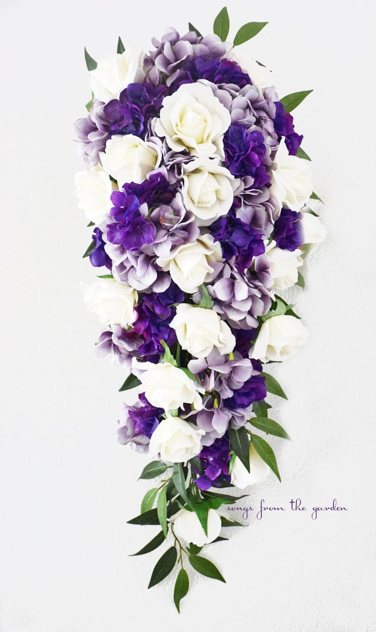 Cascade bridal bouquet real touch white roses lavender