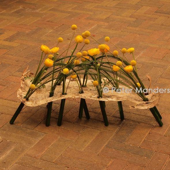 Birch funeral arrangement with tubes