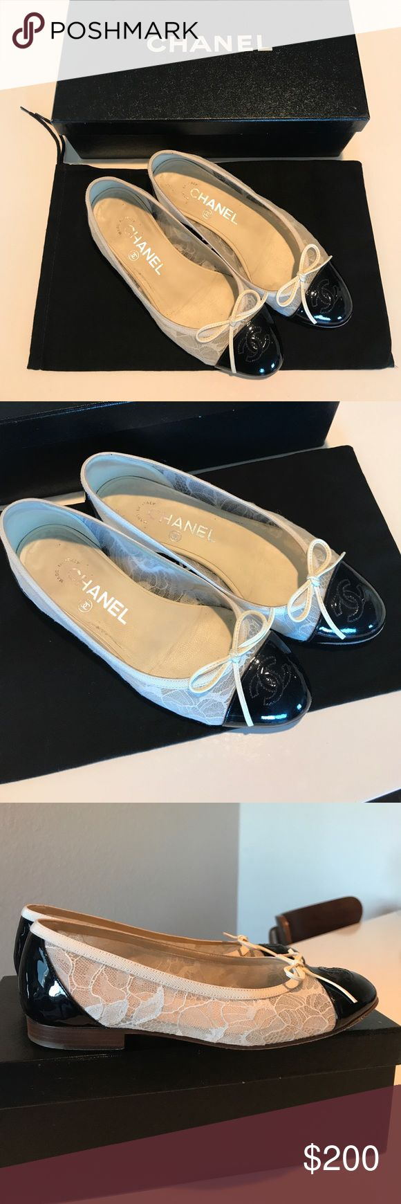 Chanel classic ballerina in white lace/blk ❤️ 100% authentic Chanel classic ballerina in beautiful white lace with patent leather cap toe ❤️ this specific piece runs little small. It fits like true 35. Still in great condition! I trashed the original box for this pair and I can ship it with my other Chanel box ( seen in the 1st picture ) which belongs to my other Chanel shoes... 👍🏻 ******** NO TRADE PLEASE & ALL SALES ARE FINAL******* Happy shopping 😉 CHANEL Shoes Flats & Loafers