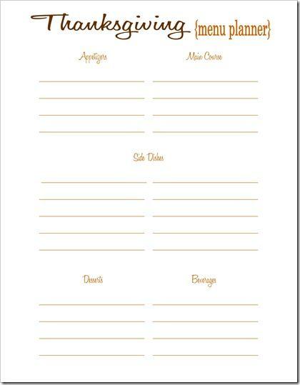 Printable Thanksgiving Menu Planner & Thanksgiving shopping list
