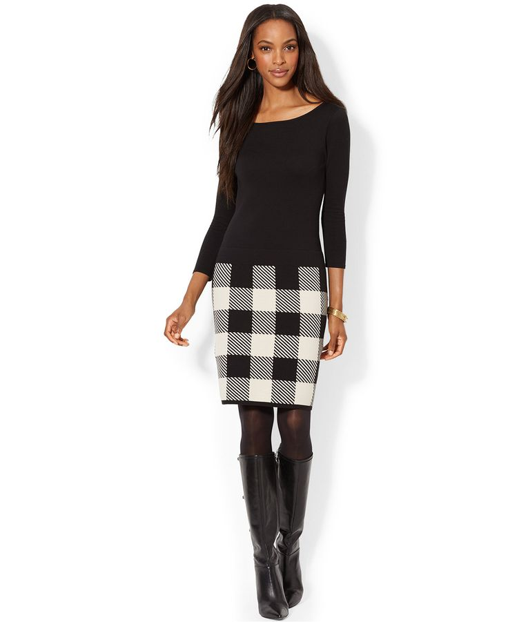 Lauren Ralph Lauren Petite Long Sleeve Plaid Skirt Sweater