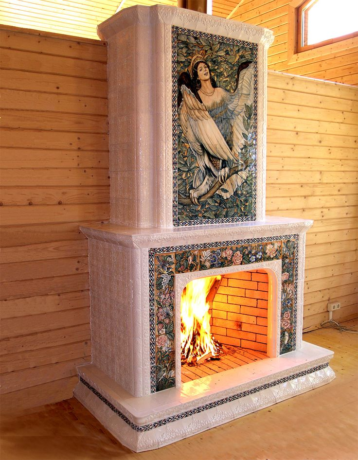 Awesome russian tiled fireplace with gorgeous picture of syren.