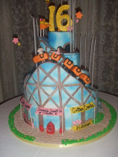 Roller Coaster - This cake was made for a Sweet 16. Hope you like it.