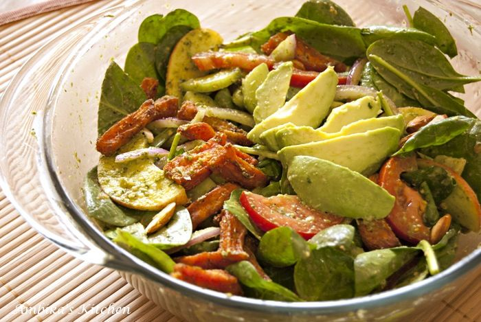Roasted Sweet Potato & Spinach Salad with Cilantro-Lime Dressing