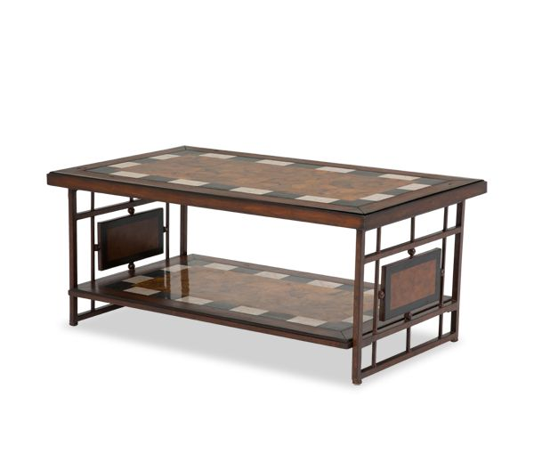 Sao Paulo Rect. Cocktail Tbl w/Stone Top&Metal Accent Base |Freestanding| Michael Amini Furniture Designs | amini.com