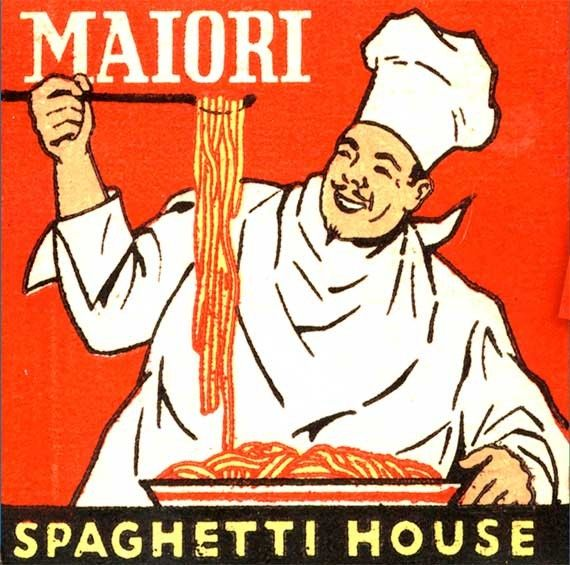 Italian Food Matchbook PRINT NY City cook with spaghetti, Kitchen wall decor, Italian Food Decor, Waitresses on the Feature Matches - by MatchbookMemories, $15.00